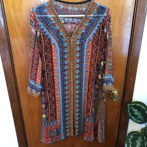NWOT Semi-sheer open caftan multi color